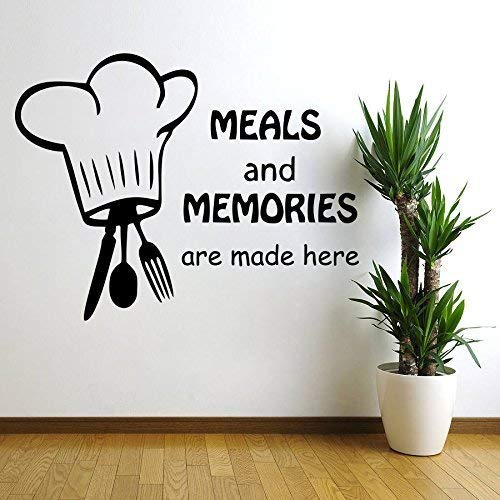 Decor Kafe 'Meals and Memories' Wall Sticker (Self Adhesive Vinyl Film, 38.1 cm x 30.48 cm x 2.54 cm, Black)