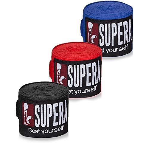 Supera 4,5m elastische Boxbandagen mit Daumenschlaufe – Bandagen Boxen und Kickboxen, Muay Thai & MMA – Set mit Trainings Box Bandage Sport mit Klettverschluss für Das Handgelenk