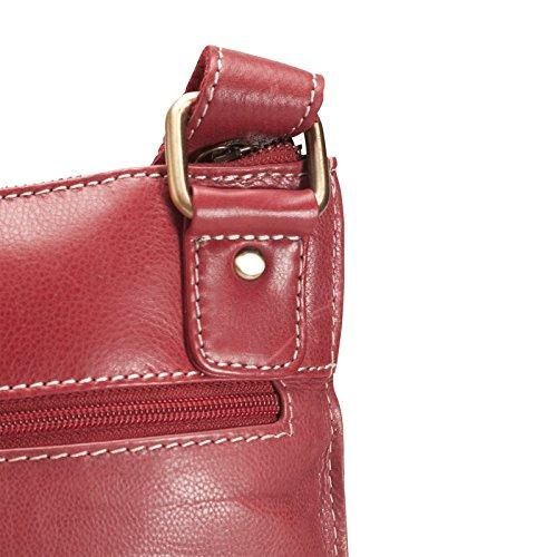 """Brunhide Borsa tracolla, a spalla e a mano in vera pelle adatta per tablet 7""""�?# 112-300 Rosso"""