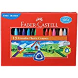 Faber-Castell Erasable Plastic Crayon Set - 70mm, Pack of 15 (Assorted)