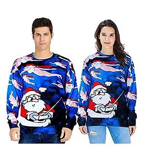 LOPILY Weihnachtspullover Unisex 3D Optiken Druck Sweatshirts mit Lustigem Rudolph Muster Hässlicher Weihnachtspullis Ausgefallene Weihnachten Kapuzenpullover Herren Damen