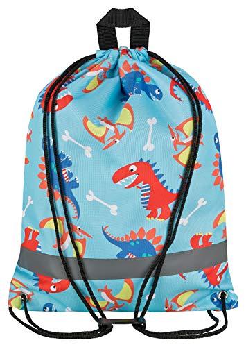 Aminata Kids - Kinder-Turnbeutel für Junge-n mit Jurassic T-Rex Urzeit-Tier Vulkan Dino-saurier Sport-Tasche-n Gym-Bag Sport-Beutel-Tasche hell-blau rot-e...