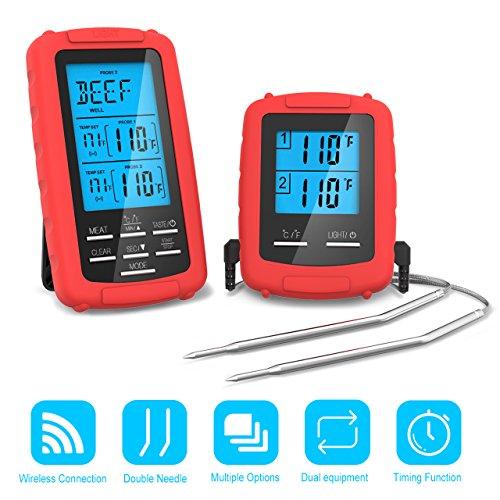 Barbecue Thermometer Fleischthermometer Funk Grillthermometer Bratenthermometer Digital Zeitmesser Grillthermometer,Bratenthermometer, mit Timer 2 Temperaturfühlern für BBQ Kochen, Grill, Ofen, Fleisch, Indoor / Outdoor-Grill Silber