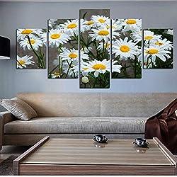 shuyinju Lienzo Decoración para el hogar Marco de la Pintura Cuadros Modulares HD Impreso 5 Panel Margarita Blanca Flores de Girasol Cartel Sala de Arte de La Pared-30x60cmx2 30x80cmx1