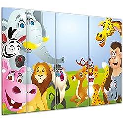 """Bilderdepot24 Cuadros en Lienzo """"Imagen de los niños - Animales de dibujos animados V"""" 180x120 cm 4tlg - listo tensa, directamente desde el fabricante"""