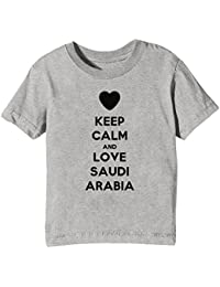 Keep Calm And Love Saudi Arabia Niños Unisexo Niño Niña Camiseta Cuello Redondo Gris Manga Corta Todos Los Tamaños Kids Unisex Boys Girls T-shirt Grey All Sizes