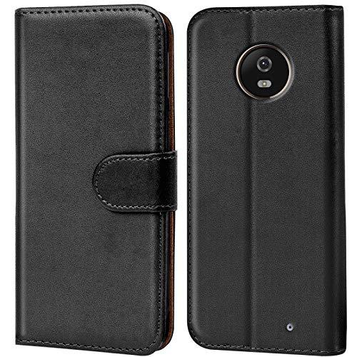 Verco Moto X4 Hülle, Handyhülle für Motorola Moto X4 Tasche PU Leder Flip Case Brieftasche - Schwarz