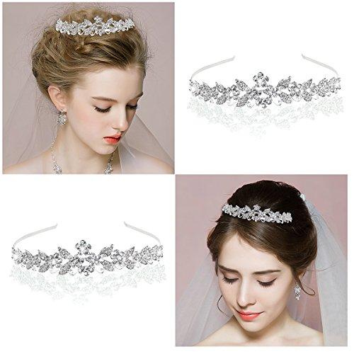 Tinksky Tiara Braut Kopfbedeckungen Strass Princess Tiara Barock Headbands(Silver)