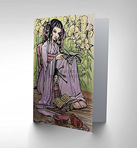 PAINTING PORTRAIT JAPANESE LADY GIRL KIMONO BLANK GREETINGS BIRTHDAY CARD CP305