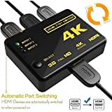 Galaxy Hi-Tech® HDMI Switch 3 Port With Remote Control 4K Support, Full HD 1080P, 3D, Switch Splitter With Remote Control, HD Audio For Nintendo Switch,HD TV Xbox PS3 PS4, 3 In 1 Out