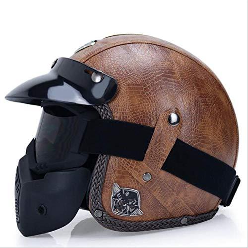 Qiutianchen Casco moto Vintage Harley Casco moto casco incrociatore 3/4 in pelle Casco moto jet aperto Jet Casco motociclistico@Modello marrone con maschera facciale_M