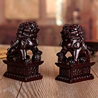 Feng Shui Riqueza Porsperity par de Beijing Fu foo Perros estatuas Ward Apagado Evil energía,