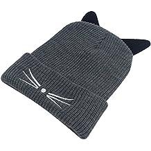 541a74d6f4b2 ANGTUO Chapeau tricoté, Bonnet Bonnet d hiver avec Oreilles Chaton Mignonnes