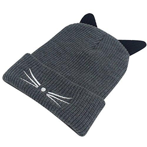 Chapeau tricoté, ANGTUO Bonnet Bonnet d'hiver avec oreilles chaton mignonnes