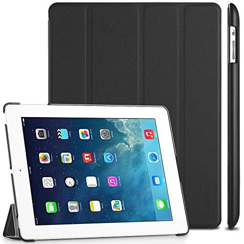 EasyAcc Gold iPad 4 Hülle Schutzhülle Etui Tasche für Apple iPad 2/3/4 Smart Case Cover mit eingebautem Magnet für Einschlaf/Aufwach - Schwarz