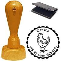 Stempel « EIER VON GLÜCKLICHEN HÜHNERN » ca. Ø 40 mm - Motivstempel mit Kissen Eier Huhn Ei Hühnerhof 03