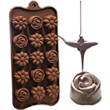 Hua You Silicone Flower Shape Chocolate Mould / Ice Mould,Brown,10 In,Silicone