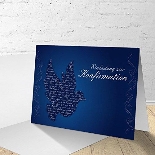 """5 Karten zur Konfirmation mit passenden Umschlägen, Einladungskarten zur Konfirmation, Klappkarten im Set zu 5 Stk. """"blaue Taube"""""""