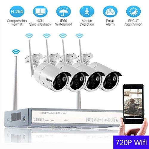 Wlan Kamera Videoüberwachung HD Home , YKS CCTV NVR Kit + 4x720P wifi Überwachungs Überwachungsset WLAN Netzwerk Außen IP Überwachungskamera, mit IR Nachtsicht, 1TB HDD, Indoor/Outdoor Wetterfest