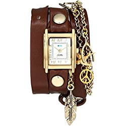 La Mer Collections Damen LMCW1006 Peace Pipe Charm Chain Wrap Armbanduhr