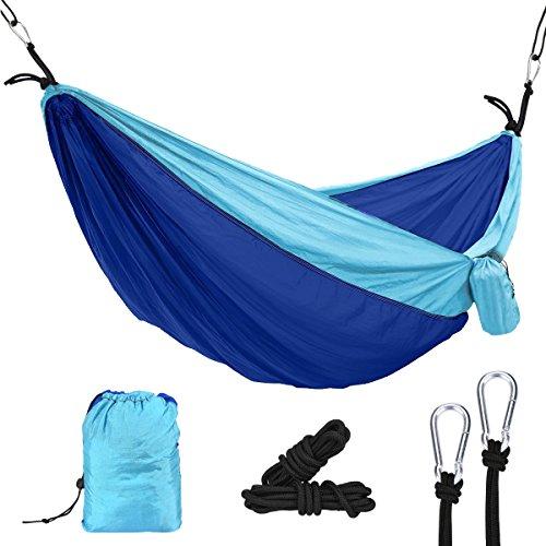 OZUAR Hamac de Camping – 2 Personne extérieure Hamac de Voyage pour Le Camping Randonnée Randonnée – INCL. 2 mousquetons et 2 Cordes (Bleu Ciel + Bleu Saphir) 270*140 cm Capacité de Charge 300 kg