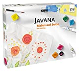 Kreul 81845 - Javana Seidenmalfarben Grundausstattung, 5 x 20 ml Farbe, je 20 ml Konturenfarbe, Effektsalz und Gutta, ein Pinsel, zwei Seidenzuschnitte und Motivvorlagen sowie Spannnadeln