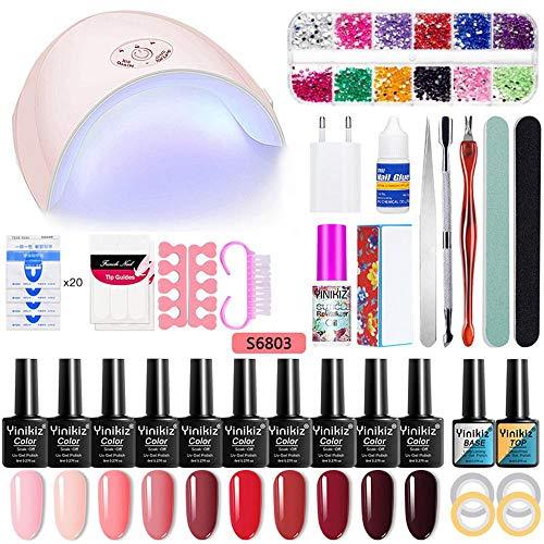 Womdee Gel Nagellack Starter Set, Nail Art Tool Maniküre Kit, Gel Nagellack Kit 36W UV/LED 10 Farben Gel Nagellack Set, Perfektes DIY Geschenk (Gel-nagel-kit Licht Mit)
