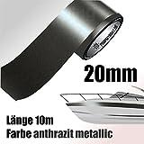 ZIERSTREIFEN 10m ANTHRAZIT 20mm METALLIC Auto Boot Jetski Modellbau Vinyl Dekorstreifen