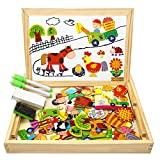 COOLJOY Wooden Magnetic Board Puzzle Games, 100+ PCS Double Sided Jigsaw Farm Pattern Drawing Easel Blackboard Educational Wood Toys for Boys Girls Kids Toddler 3 4 5 Year Olds
