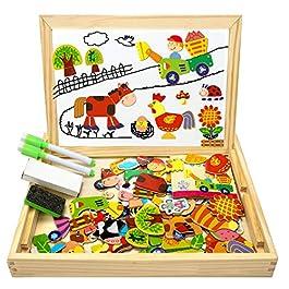 COOLJOY Puzzle Magnetico Legno, Giocattolo di Legno con Lavagna Double Face, Apprendimento Educativo