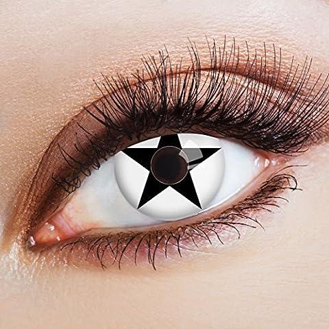 aricona Farblinsen weiße Kontaktlinsen farbig mit Stern Motiv für Cosplay