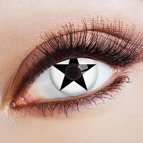 aricona Farblinsen weiße Kontaktlinsen farbig mit Stern Motiv für Cosplay (Sterne En Kostüm)