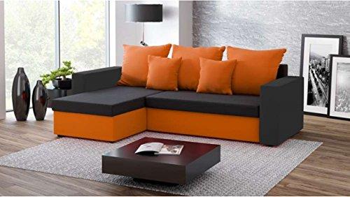 Justhome fresh i divano angolare divano letto microfibra (lxlxa): 142x237x75 cm nero arancio i penisola a sinistra