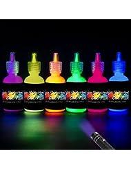 [6 x 30 ml.] iLC Peinture Corporelle UV Maquillage Coloré Fluo Néon Kit Pour Lumière Noire