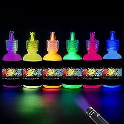 [6 X 28 ml.]iLC Pintura Corporal Pintar Neón Fluorescente Color UV Luz Negra Arte Fosforescente Maquillaje Autoluminosa Luminiscente Resplandeciente en Oscuridad