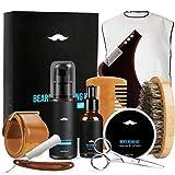 Fixget Kit Barba Cuidado para Hombre Crecimiento, Aceite de Barba & Bálsamo & Cepillo Barba De Cerdas Naturales De Jabalí & Peine Barba & Tijeras Barba+Bolsa de almacenamiento (10pcs)