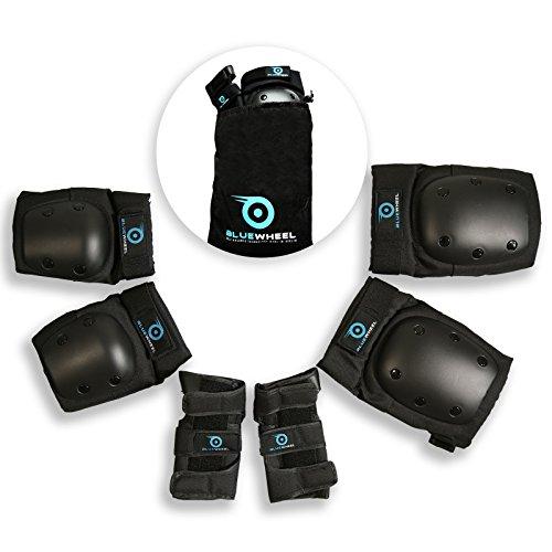 Bluewheel Schutzausrüstung PS200 für Hoverboard, Inline-Skate, BMX-Fahrrad, Skateboard; Protektoren-Set mit optimaler Passformregulierung & festem Sitz für Kinder und Erwachsene – inkl. Tragebeutel (L)