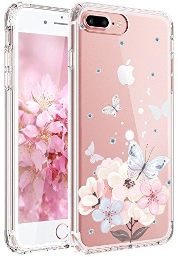JIAXIUFEN iPhone 7 Hülle, iPhone 8 Hülle, TPU Silikon Schutz Handy Hülle Handytasche HandyHülle Etui Schale Schutzhülle Case Cover für Apple iPhone 7/iPhone 8 - Pink Butterfly Flower Pink Butterfly Handy