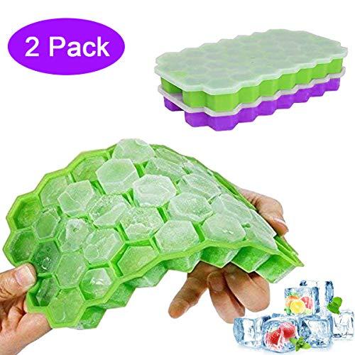 YUECHAO Silikon Eiswürfelform mit Deckel | 2 Stück 37-Fach Eiswürfel Form Eiswürfelbehälter | DIY Ice Cube Tray für Familie, Partys und Bars | BPA-frei & LFGB Zertifiziert (Grün & Violett) (Party Ice Tray)