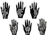 Mehandi Schablonen 6 Stück Set 6 Henna Designs zur einmaligen Verwendung für Hände auch für Glitter Tattoo und Air Brush Tattoo geeignet