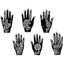 6 Feuilles Mehndi Tatouage Pochoir pour la main Hand 6 Mehndi Tatouages au henné Set 4 à usage unique - pour tatouage au henné, tatouage paillettes et aérographe tatouage