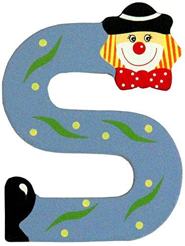 Holzbuchstaben und Zahlen- Clowns - mit Klebepad in zufälliger Farbe - Rimini Baustoffe® - Ideal für Türen und Schränke (Buchstabe S)