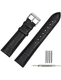 TStrap 20mm Genuine Leather Watch Strap Black Bracelet Replacement Miliary Watch Band w/ Watch Clasp Buckle