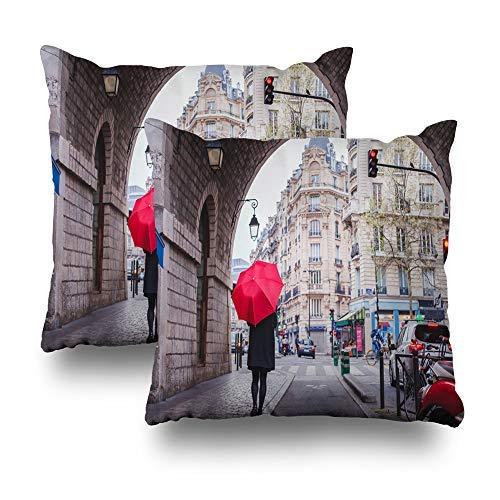 GFGKKGJFD Kissenhüllen mit rotem Regenschirm, Motiv Walking Street Paris Frankreich Paris Regenschirm, 18 x 18 cm, 2 Stück