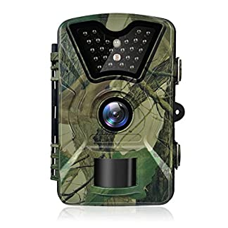 Trail Camera Hykamic 12MP 1080P HD Game&Trail Camera Waterproof IP66 Wildlife Hunting Scouting Camera with Infrared Day&Night Version Digital Surveillance Camera