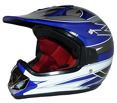 Protectwear Kindercrosshelm, Kindermotorradhelm MaX Racing, Blau Glanz, XXS  (Youth M)