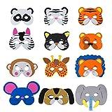 QIMEI-SHOP Tiermasken Kinder Schaumstoff Masken mit Elastischen Seil für Geburtstag Bühnenaufführungen Thema Party 12 Stücke