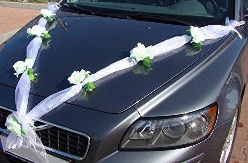 Preisvergleich Produktbild ORGANZA M Auto Schmuck Braut Paar Rose Deko Dekoration Autoschmuck Hochzeit Car Auto Wedding Deko Girlande PKW (Weiß / Weiß) test