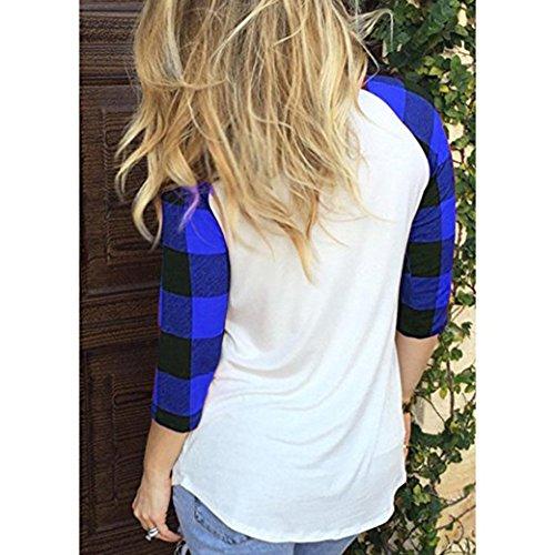 Juleya T-Shirt Femmes Chemises à Carreaux Manches Longue O Cou Tops Coeur Impression Haut Blouses Élégant Slim Fit Top Couleur Contrastée Chemise Doux Confortable Bleu
