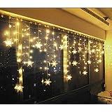 BlueOceans 93er LED Lichtervorhang Lichterkette Lang Schneeflocke Farbwechsel für Innen/Außen Deko 3.5 x 0.8 m Warmweiß